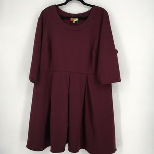 Fervour Dress Ribbed Knit Stretch 3/4Sleeve Maroon